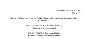 Troubled by the BC Human Rights Tribunal Ruling against Bowen Island Montessori School